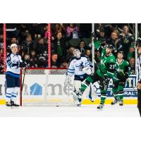 Texas Stars forward Travis Morin reacts after a goal against the Manitoba Moose