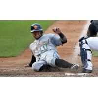 L.J. Mazzilli of the Long Island Ducks slides into home