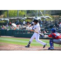 Jaycob Brugman at bat for the Tacoma Rainiers