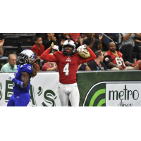 Jacksonville Sharks wide receiver Jarmon Fortson celebrates a touchdown against the Columbus Lions