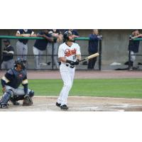 Rey Fuentes of the Long Island Ducks watches his grand slam