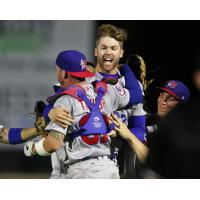Buffalo Bisons pitcher T.J. Zeuch celebrates his no-hitter