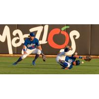 Drew Avans of the Tulsa Drillers comes up short in his diving attempt at a catch