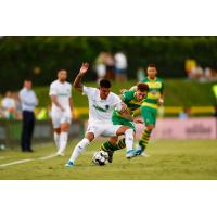 Pierre Da Silva of Memphis 901 FC vs. the Tampa Bay Rowdies