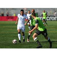 FC Edmonton with possession against York 9 FC