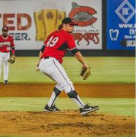 Scott Sunitsch pitching for the Carolina Mudcats