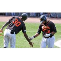 David Washington (30) and Deibinson Romero of the Long Island Ducks