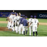 Tri-City Dust Devils exchange high fives after a win in their season finale
