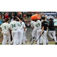 Long Island Ducks dump Gatorade on L.J. Mazzilli following his walk-off grand slam