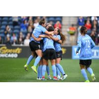 Chicago Red Stars celebrate a goal