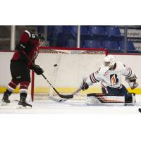 Vancouver Giants left wing Owen Hardy shoots against the Kamloops Blazers