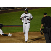 Edwin Espinal of the Somerset Patriots crosses home plate