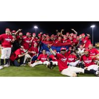 Visalia Rawhide celebrate the 2019 California League Championship
