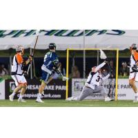 Chesapeake BayHawks fire a goal past the Denver Outlaws