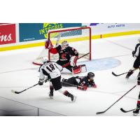 Vancouver Giants left wing Jackson Shepard takes a shot against the Prince George Cougars