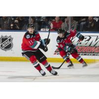 Kelowna Rockets right wing Pavel Novak (left) and centre Kyle Crosbie