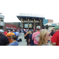 Fans line up to enter Segra Stadium, home of the Fayetteville Woodpeckers