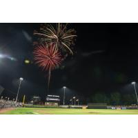Fireworks over Segra Stadium, home of the Fayetteville Woodpeckers