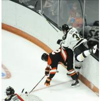 Jake Schultz of the Wheeling Nailers (right) vs. the Fort Wayne Komets