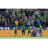 Roman Torres of Seattle Sounders FC celebrates his goal against Minnesota United FC