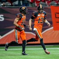 Receiver Bryan Burnham and quarterback Mike Reilly of the BC Lions