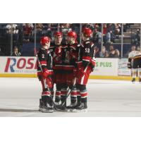 Grand Rapids Griffins huddle on the ice