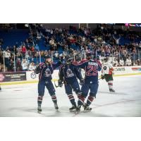 Tulsa Oilers celebrate a goal on opening night