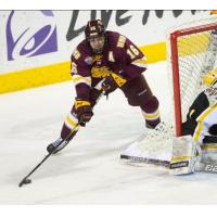Forward Billy Exell with the University of Minnesota-Duluth