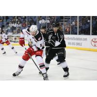 Forward Brad Morrison with the Ontario Reign (right)