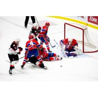 Spokane Chiefs goaltender Campbell Arnold and defense vs. the Prince George Cougars