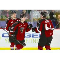 Vancouver Giants centre Cole Shepard (16) and defenceman Bowen Byram