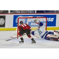 Vancouver Giants left wing Zack Ostapchuk eyes the goal vs. the Swift Current Broncos