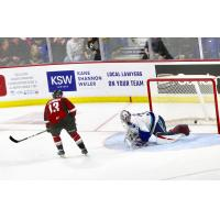 Vancouver Giants left wing Sergei Alkhimov scores against the Swift Current Broncos