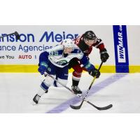 Vancouver Giants defenceman Caleb Bulych (top) vs. his brother Aiden of the Swift Current Broncos