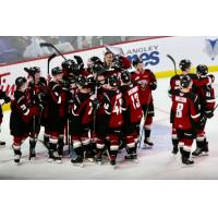 Vancouver Giants celebrate their shootout win over the Swift Current Broncos