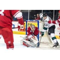 Allen Americans goaltender Jake Paterson makes a save against the Utah Grizzlies