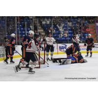 Johnstown Tomahawks celebrate a goal against the Northeast Generals