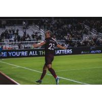 Sacramento Republic FC forward Thomas Enevoldsen reacts to the crowd after his game-winning goal against New Mexico United