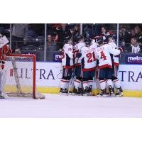 Amarillo Bulls celebrate a goal against the Corpus Christi IceRays