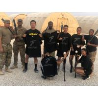 Troops with Fayetteville Woodpeckers gear in Saudi Arabia