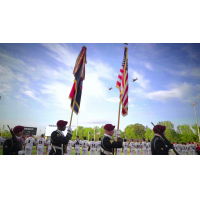 Fayetteville Woodpeckers Opening Day color guard flyover