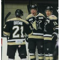 Christopher Brown and the Wheeling Nailers celebrate a goal