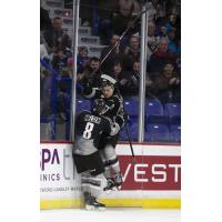Tanner Brown and Tristen Nielsen after a Brown's goal against the Vancouver Giants