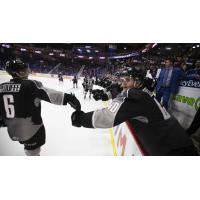 Vancouver Giants defenceman Dylan Plouffe and the Giants bench