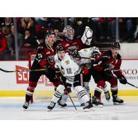 Vancouver Giants defencemen Kaleb Bulich (right) and Dylan Plouffe against the Portland Winterhawks