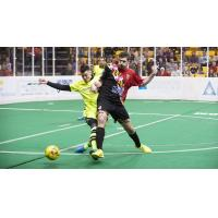 Baltimore Blast forward Andrew Hoxie (right)