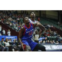 Sekou Doumbouya of the Grand Rapids Drive boxes out the Greensboro Swarm