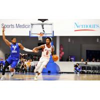 Levi Randolph of the Canton Chargewith the ball against the Delaware Blue Coats