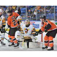 Lehigh Valley Phantoms set up around the Wilkes-Barre/Scranton Penguins goal