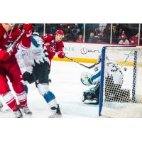Alex Breton of the Allen Americans scores vs. the Idaho Steelheads